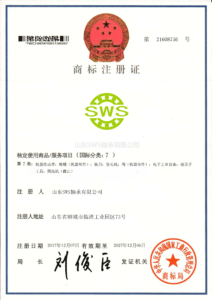 Trademark registration certificate of SWS Bearings LTD