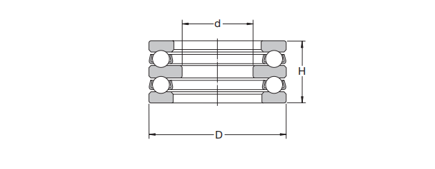 Structure diagram of two-way thrust ball bearing