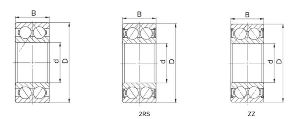 Double row angular contact ball bearing profile