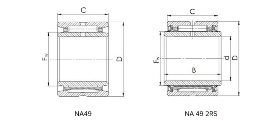 Needle Bearing NA Series Bearing Structure Diagram