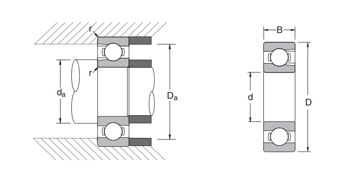 Sectional view of Deep groove ball bearing BL series