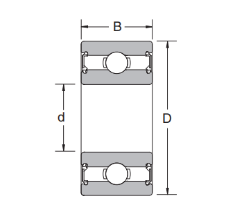 Structure drawing of thickened deep groove ball bearing
