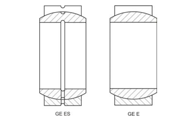 Structural drawing of the spherical plain bearing GE series