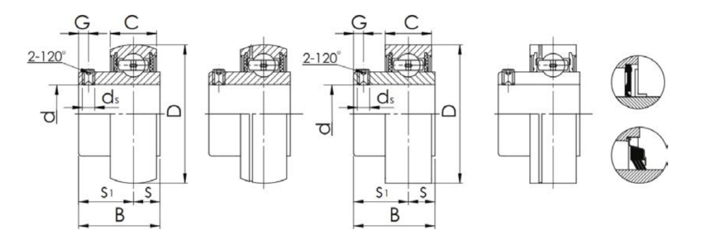 Structure Drawing Of Insert Bearing SB-type​