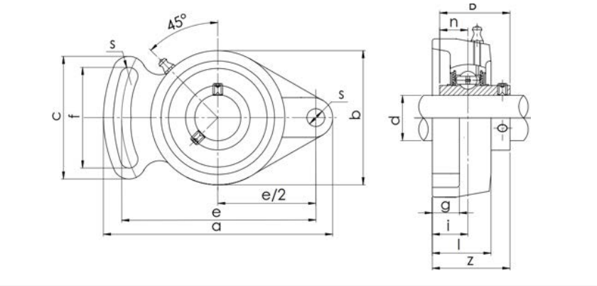 Bearing Unit UCFA Type Structure Diagram